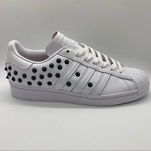 "NWT! Adidas White Leather ""Superstar"" Sneakers, 8"